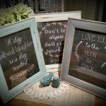 Three chalkboard prints framed