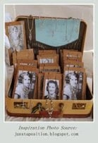 Vintage suitcase with portrait photos and jewellery