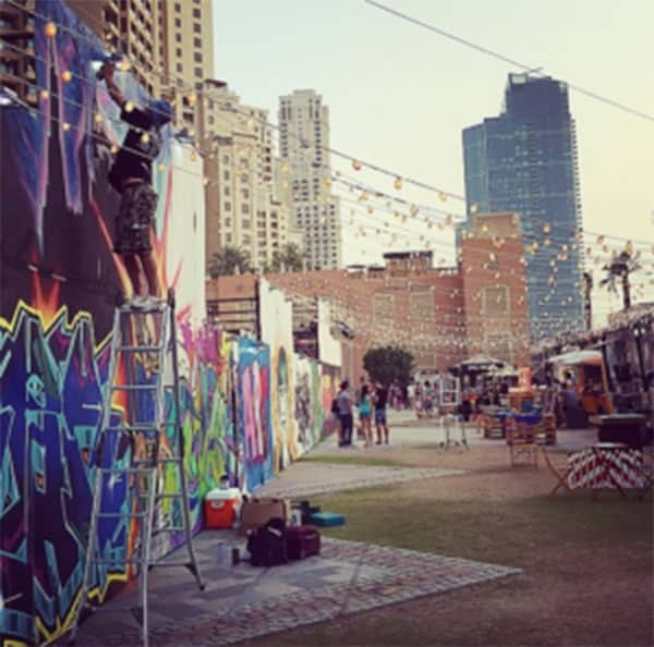 Graffiti wall in Brisbane City at a Twilight Market