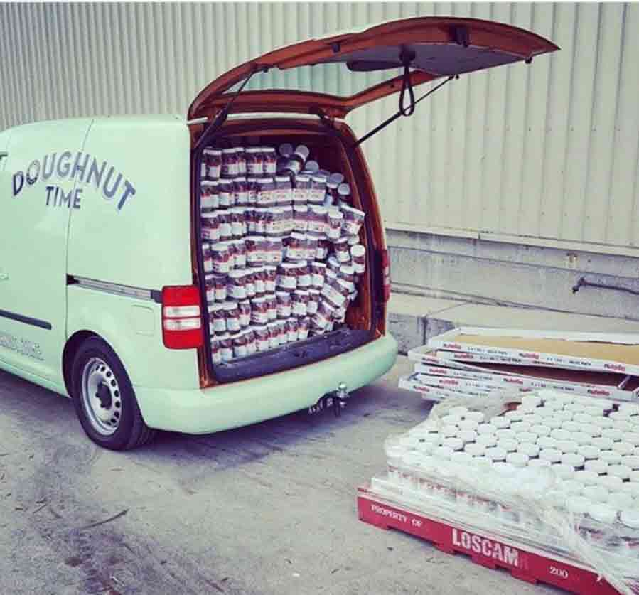 The Doughnut Time Van delivering a full load of Nutella to their stores
