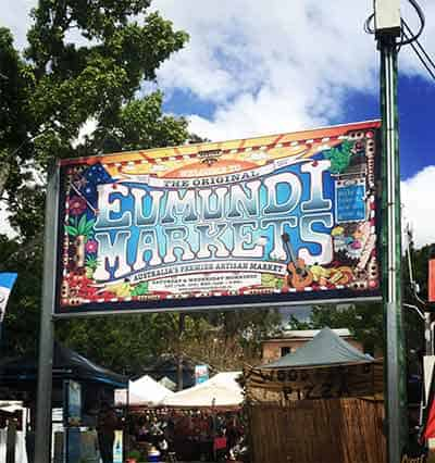 Sign out the front of Sunshine Coast icon Eumundi Markets