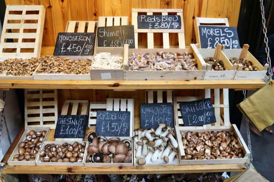 Mushroom market stall at London's Borough Market