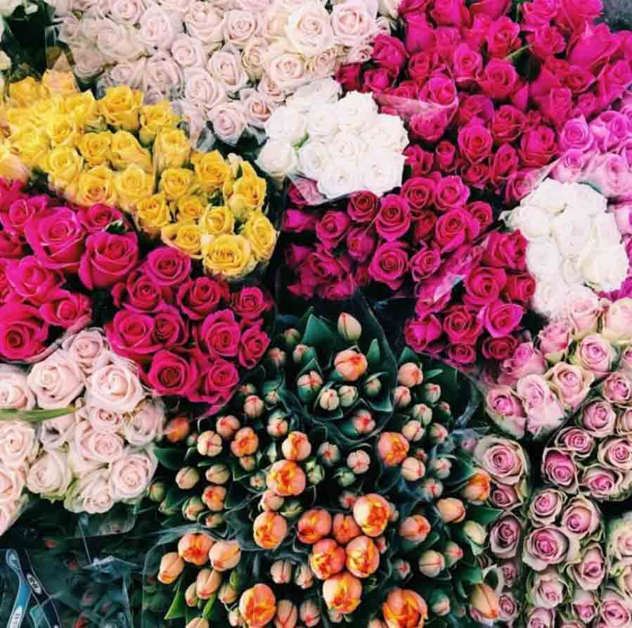 bright shades of pink coloured flower bouquets