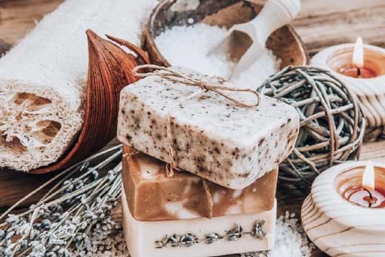 rustic candle and soaps