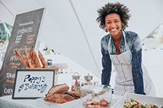 Bakery market stall holder at farmers market