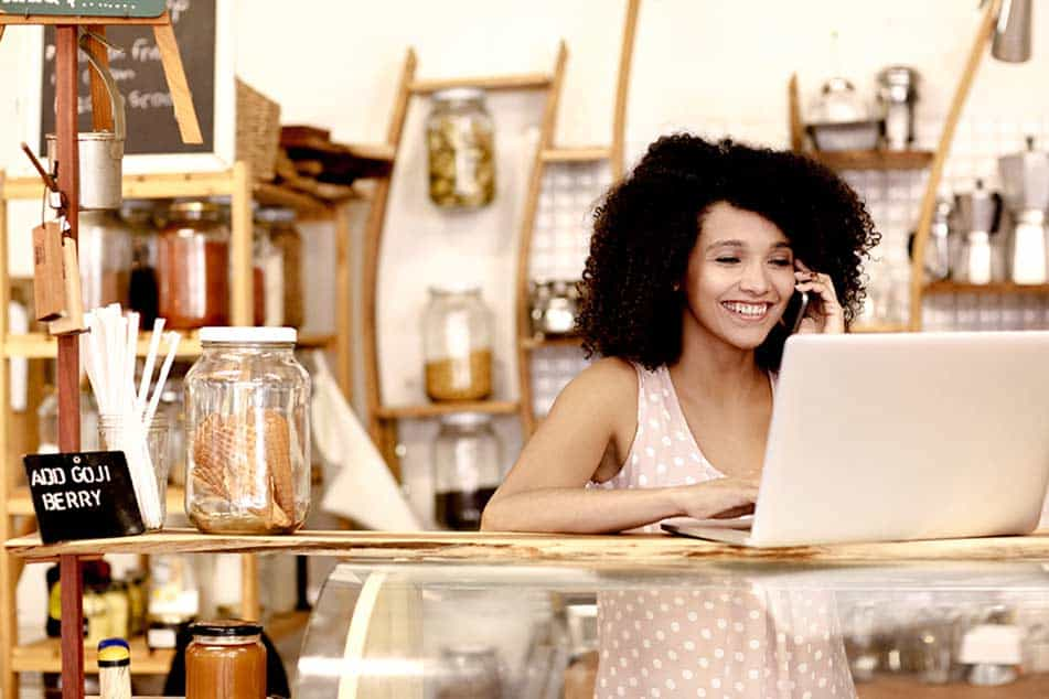 small business owner at her cafe
