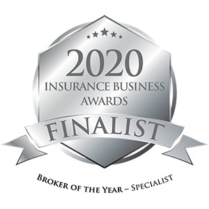 2020 Insurance Business Awards Finalist badge for Specialist Broker of the year - AUZi Insurance