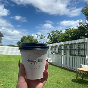 takeaway coffee cup at Kingscliff cafe Chinny Brew