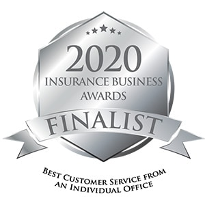 2020 Insurance Business Awards Finalist badge for Best customer service from an individual office - AUZi Insurance