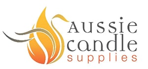 Aussie candle supply logo in text including picture of flame