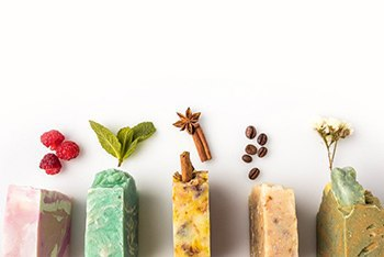 Five handmade soaps with scented item