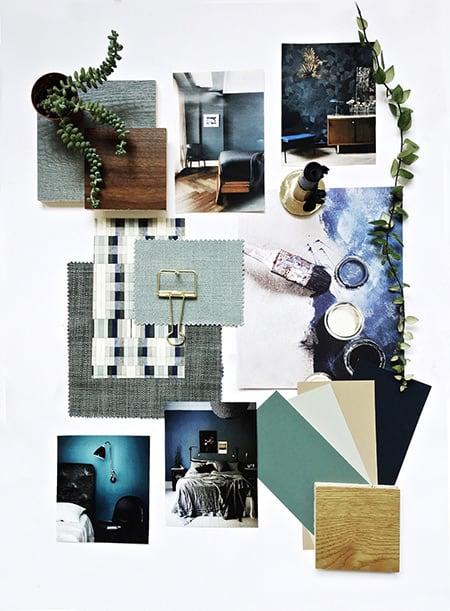 Blue and green theme flat lay mood board