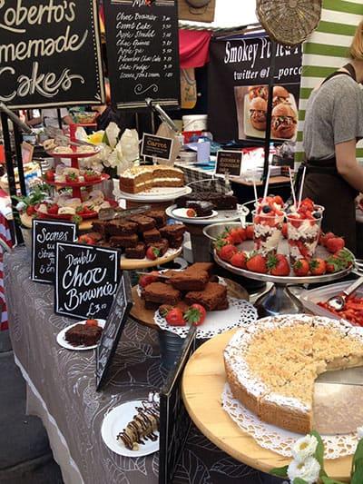 Roberto's homemade cakes market stall