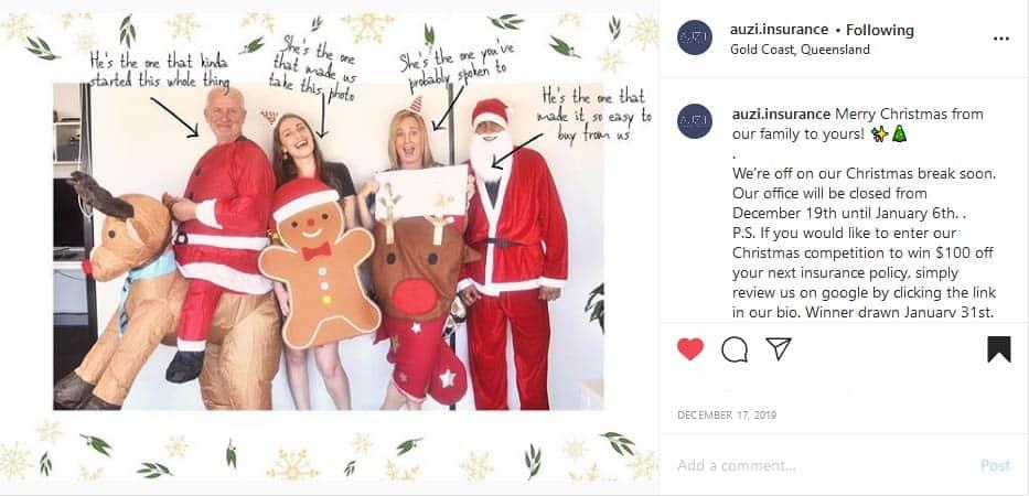 AUZi Insurance team Christmas photo