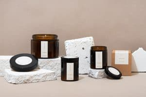Product photography - candles in amber jars